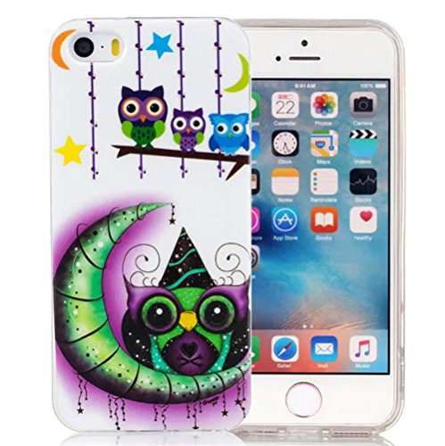 "Nnopbeclik® [Coque Iphone 5 5S SE Silicone] ""Noctilucent"" Motif Imprimé Style Soft/Doux antichoc Backcover Housse pour Iphone 5 Coque Silicone/Iphone 5S Coque Silicone/Iphone SE Coque Silicone (4.0 Po hibou"