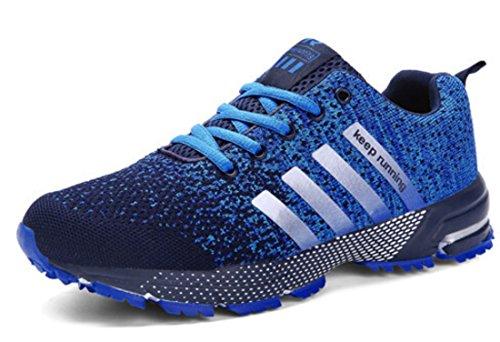 Men's Mesh Breathable Fly Weave Light Running Shoes 8702blue