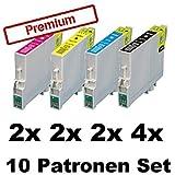 10x Kompatible Tintenpatronen für Epson Stylus Photo R240 R245 RX400 RX420 RX425 RX520 T0551 T0552 T0553 T0554 - Sparset (4x Black, 2x Cyan, 2x Magenta, 2x Yellow