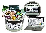 Überlebens-Set für den 50. Geburtstag in der Dose, witzig Lustiges Geschenk und Grußkarte in einem, farbliche Personalisierung der Dose möglich, Black/Mint, 10 x 6 cm