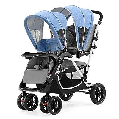 Gemas Bebé en tándem Paseante, 4 modos Cochecito gemelo Sillón ligero Puede sentarse y mentir Suspensión Fold Trolley Desde el nacimiento hasta los 25 kg. 4 ruedas, AZUL ROSADO