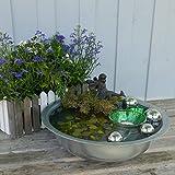 Miniteich Efle mit Schwimmpflanzen silberne Schwimmkugeln