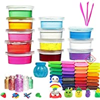 Firstly Traders DIY Slime Kit with 12 Crystal Slime+ 12 Air Dry Clay+ 1 Slime Pot with Free Tools and Glitter for Kids…