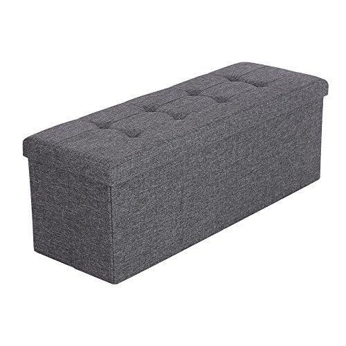 Songmics 110 cm Bench Sitzbank Truhen Sitztruhe mit Stauraum leinen dunkelgrau LSF77K