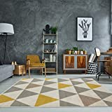 Milan Ochre Mustard Yellow Grey Beige Harlequin Triangles Traditional Living Room Rug 160cm x 230cm
