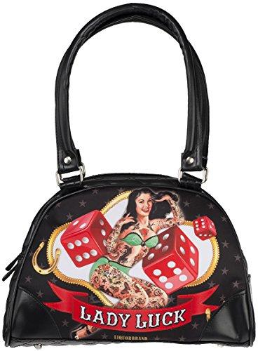 Liquor Brand Damen Handtasche Lady Luck Bowlingtasche Schwarz