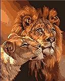 ZHFC-Digitale Malerei DIY DIY - Bild Rahmen Gemälde dekorationsmalerei Hand Größe Löwe Aufkleber 40 * 50 cm