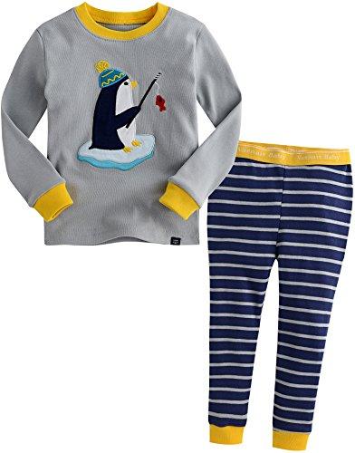 Vaenait Baby Kinder Jungen Nachtwaesche Schlafanzug 2 Stueck Set Grey Penguin M