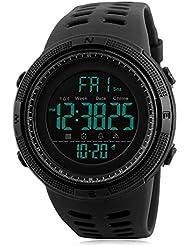 Orologio digitale, da uomo sportivi casual militare elettronico orologi maschi correre moda impermeabile orologio da polso con calendario, cronometro, allarme – nero