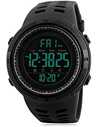 Digital Watch, Mens Sports Casual Military Electronic Watches Males Running Fashion Waterproof Wristwatch with Calendar Stopwatch Alarm - Black