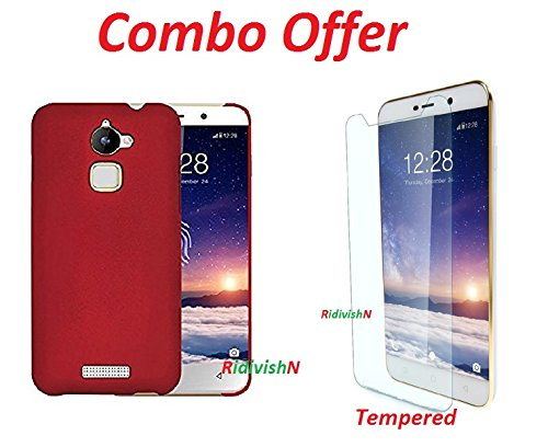RidivishN (COMBO OFFER) for Coolpad Note 5 Hard Matte Finish Back Cover Case + Premium Tempered Glass screen Protector - (Red,Transparent)