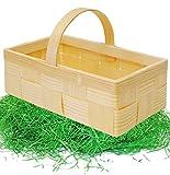 Unbekannt Set _ Ostergras & 1 Bastkorb / Bastkörbchen - MITTEL - Natur - z.B. Blumenstreukörbchen / Körbchen - als Deko z.B. für Osterei / Ei zum befüllen - Weidenkorb ..