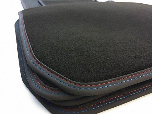 Fußmatten E60 E61 Velours Automatten Premium Qualität 4-teilig Schwarz M5 Doppelnaht rot/blau