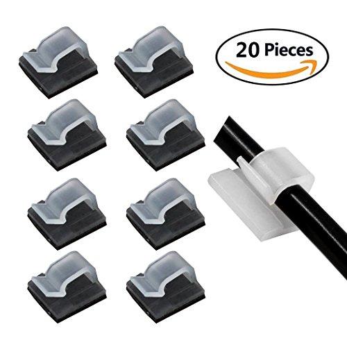 Abrazadera de cables de 5 mm (20 unidades), color blanco con almohadillas adhesivas de 3 m, soporte de cable de nailon para cables de teléfono o Ethernet ordenados y organizadores