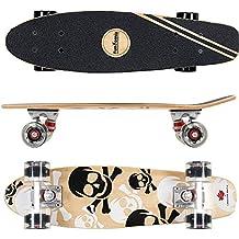 FunTomia® Mini Skateboard 57cm - 7 capas de arce canadiense - con o sin LED Ruedas - Wheel 59mmx45mm (82A) - Rodamiento ABEC-11 (Negro Cráneo - con LED Ruedas)
