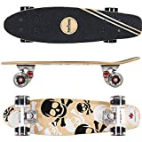FunTomia® Mini-Board Skateboard aus kanadischem Ahornholz oder Kunstoff inkl. ABEC-11 MACH1® Kugellager (Mini-Board aus 7-lagigem Ahornholz in Weiß Totenkopf / schwarze Rollen mit LED)