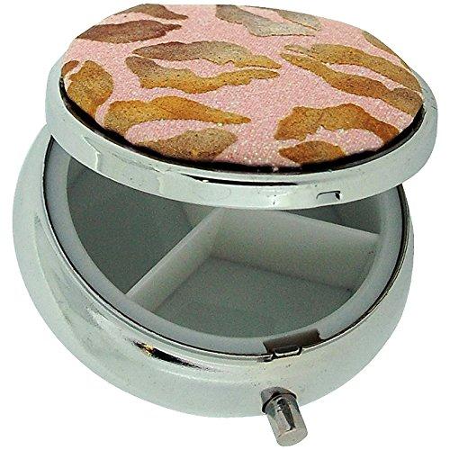 Scatola per pillole, placcato argento e bronzo rosa glitter Lips Stampa custodia da viaggio compatto pillola SC1000