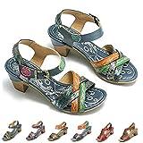 gracosy Sandalias Cuero Verano Mujer Estilo Bohemia Zapatos de Tacón Medio para Mujer de Dedo Sandalias Talla...