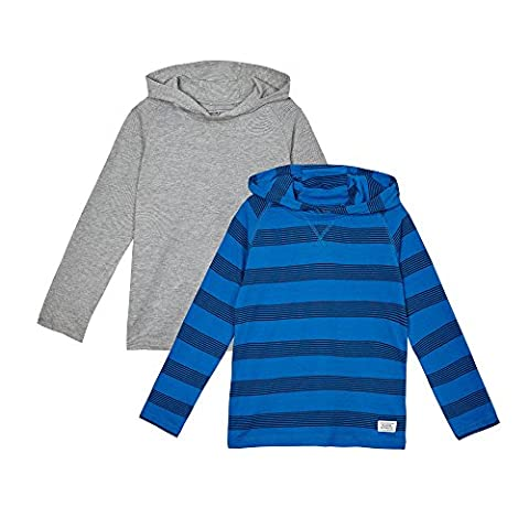 Bluezoo Kids Pack Of Two Boys' Blue And Grey Striped Hooded Tops Age 8-9