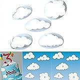 5tlg. Keks Ausstechformen Cloud Wolken Ausstecher DIY Fondant Ausstechformen Deko Utensilien Modellierwerkzeug Fondant Kuchen Tortendekoration für Backen
