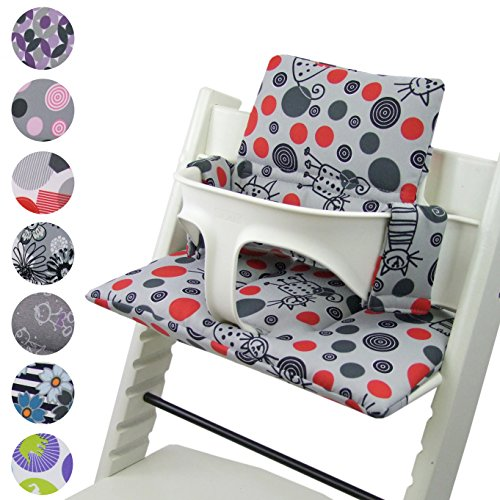 BambiniWelt - Cojín de asiento para trona Stokke Tripp Trapp, en 20colores, asiento de 2piezas, funda de repuesto Hellgrau Katze Rote Punkte