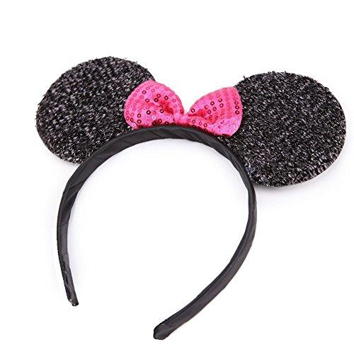 Schwarzer Haarreif mit Minnie-Maus-Ohren und glitzernder Schleife