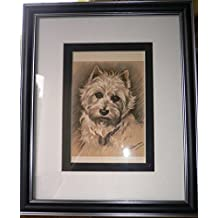 FRAMED WESTIE dog Rare Lucy Dawson 1939 West Highland Terrier dog print bookplate Unique Gift Christmas, Birthday present