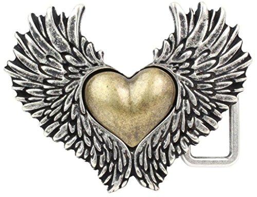 Gürtelschnalle für Damen, feminine geflügelte Herzschließe für Wechselgürtel, Belt Buckle