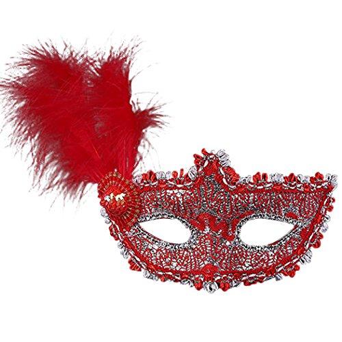 sarahbridal Feder Eye Masken Princess Masquerade Ball Halloween Party Spitze Face Maske Kostüm MJ011 (Cher Halloween Kostüme)