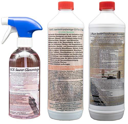 A.K.B.Set 3 Phasen Sanitär GRUNDREINIGER VOLLKONZENTRAT + Forte Sanitärgrundreiniger Konzentrat + 0,5 L Saurer Glanzreiniger, 0180, (1 L + 1 L + 0,5 L)