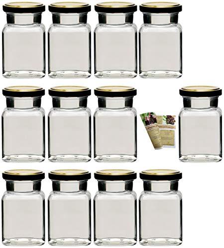 gouveo Set Einmachgläser Quadrat 150 ml incl. Verschluss
