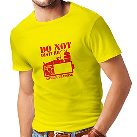 T shirts for men Alcohol Charging - funny drinking beer shirts, vacation party clothes (Medium Yellow