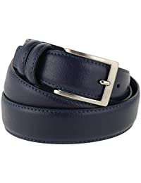 Cintura uomo in pelle blu classica, elegante, artigianale, modello Prada, e made in Italy - 3,5 cm