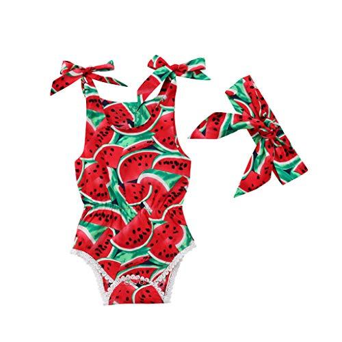 Knowin-baby body 100% nagelneu, hohe Qualität Baby ärmellose Obst Wassermelone Print Lace Weste Siamesische Kletteranzug Harness und Hair Strap Set (Krake Baby Kostüm)