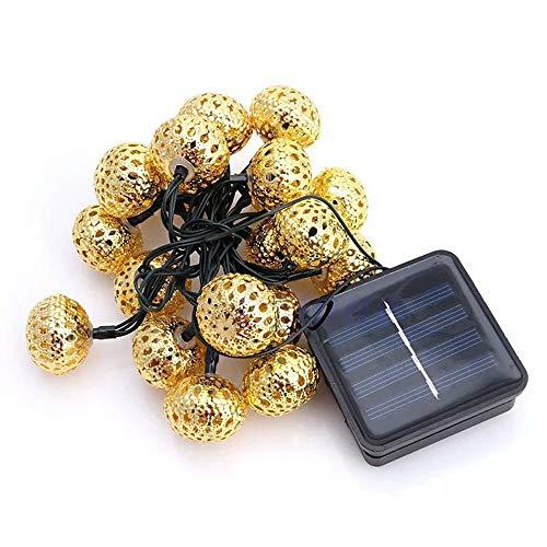 PINKE Solar Lichterkette Schmiedeeisen Metallkugel Marokkanischen Ball Im Freien Wasserdicht Drinnen Und Draußen Urlaub Dekoration Stil Zeichenfolge (50 Glühbirnen)(pure,Gold) - Schmiedeeisen Ball
