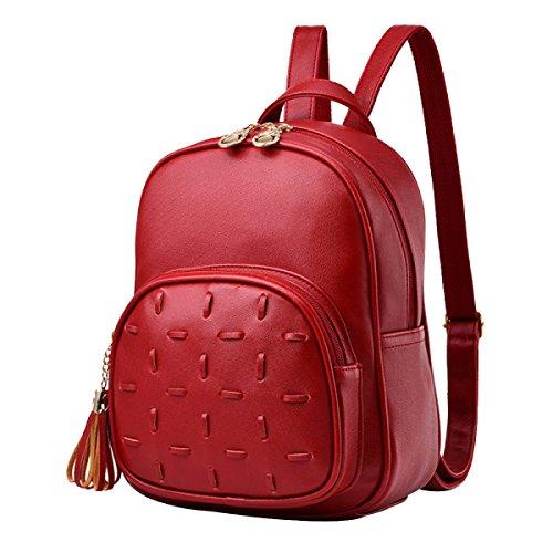 Nappe Zaino A Tracolla Borse Da Viaggio Zaino In Pelle PU Donne Ragazze Moda Multicolore Red