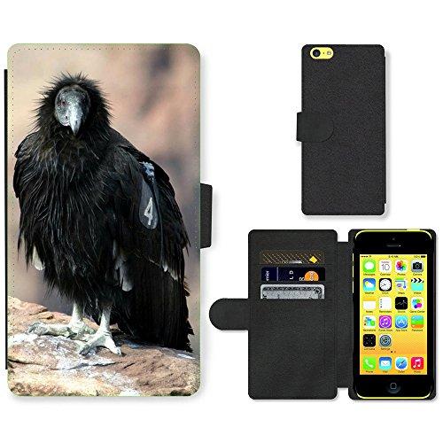 Just Mobile pour Hot Style Téléphone portable étui portefeuille en cuir PU avec fente pour carte//m00139176Californie Condor d'Oiseaux/oiseaux/Animaux/Apple iPhone 5C