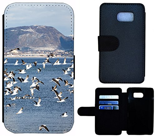 Flip Cover Schutz Hülle Handy Tasche Etui Case für (Apple iPhone 6 / 6s, 1549 Mops Welpe Hund Pink Braun) 1557 Vögel Meer Berge