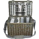 zq1–3749b, talla grande), color blanco Lavable cesta de picnic con enfriador para 4personas