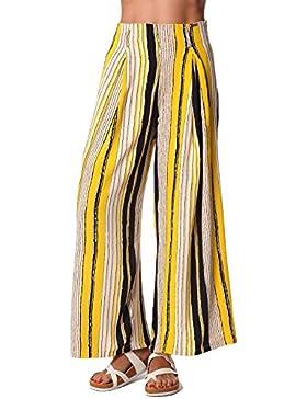 Q2 Mujer Pantalones de pernera ancha con estampado de rayas y cinturon en color amarillo