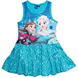 Frozen Kleid Die Eiskönigin Kollektion 2018 Sommerkleid 98 104 110 116 122 128 Mädchen Disney Strandkleid Anna und Elsa (110 - 116, Blau; Blue)