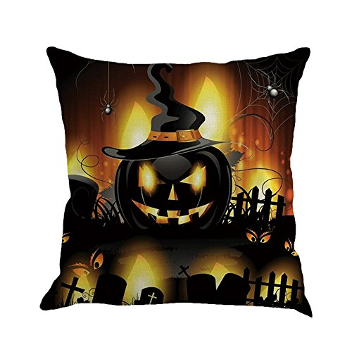 Dekoration Loveso Halloween Startseite Sofa Deko Kissenbezug Hexe Katzen Kürbis Halloween Kissenbezug (C)