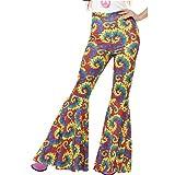 70er Jahre Hose mit Schlag - L (42/44) - Flower Power Bootcut ausgestellte Damenhose 90er Party Sixties Outfit Hippie Frauenhose Schlagerparty Batik Schlaghose Damen