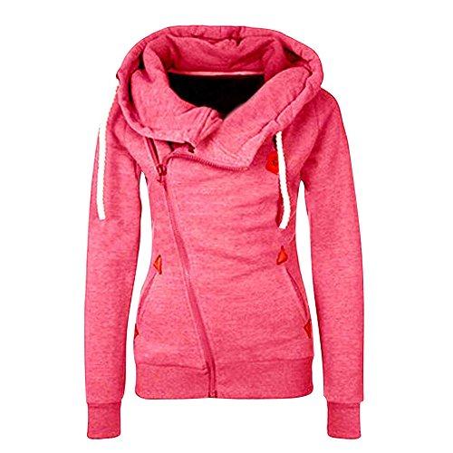 ShallGoodFrühling Herbst Damen Sweatshirt Langärmelige Frauen Outerwear mit Kapuzen und Schrägem Reißverschluss Rosa DE 36 (Rosa Demi Bras)