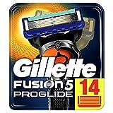 Gillette Fusion5 ProGlide - Cuchillas de Afeitar, 14 Recambios, Paquete Apto para el Buzón de Correos, Tecnología FlexBall que se Adapta a los Contornos