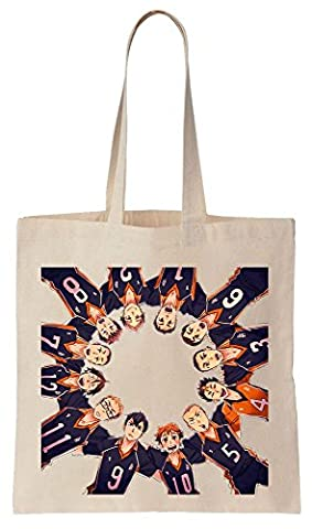 Haikyuu Members Standing In A Perfect Circe Artwork Cotton Canvas Tote Bag