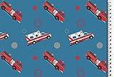 Jersey BaumwolljerseyJerseystoff Feuerwehr Krankenwagen blau rot weiß 1,50m Breite