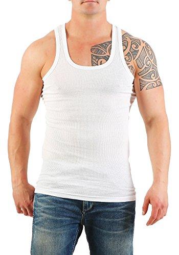 5er Pack Herren Unterhemd (Achselhemd / Muskelshirt) Doppelripp Nr. 449 auch in Übergröße ( Weiß / 13 (XXXXXL) ) - 2