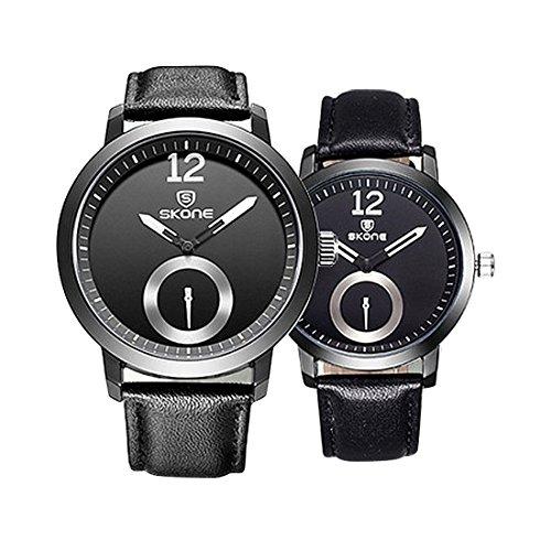 Souarts Armbanduhr 1 Paar / 2PC Ultradünnes Leder Romantic Mode Paar Armbanduhren Schwarz