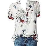 Luckycat Camiseta Casual Para Mujer Camiseta de Mujer con Estampado floral de Manga Corta en V Cuello Moda Impresa Camiseta Blusa Tops de Verano Suelta Manga Corta Mujer Camiseta Manga Corta Camiseta